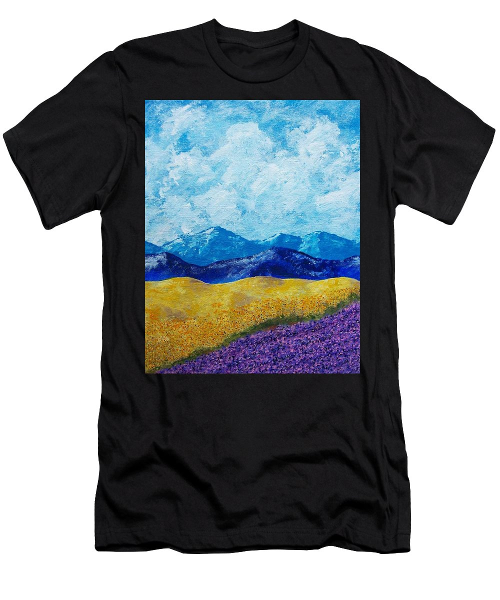 Art & Collectibles Painting Acrylic Provence France Mediterranean Art French Countryside Landscape Painting Lavender Fields Mountain Scenery Hillside Painting Tree Artwork Purple Home Decor Modern Green Design Yellow Artwork Blue Modern Design Sunflowers Men's T-Shirt (Athletic Fit) featuring the painting Sunflowers And Lavender In Provence by Mike Kraus