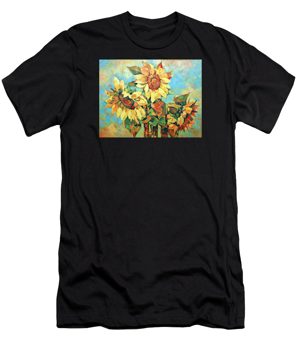 Sunflowers Men's T-Shirt (Athletic Fit) featuring the painting Sunflowers by Iliyan Bozhanov
