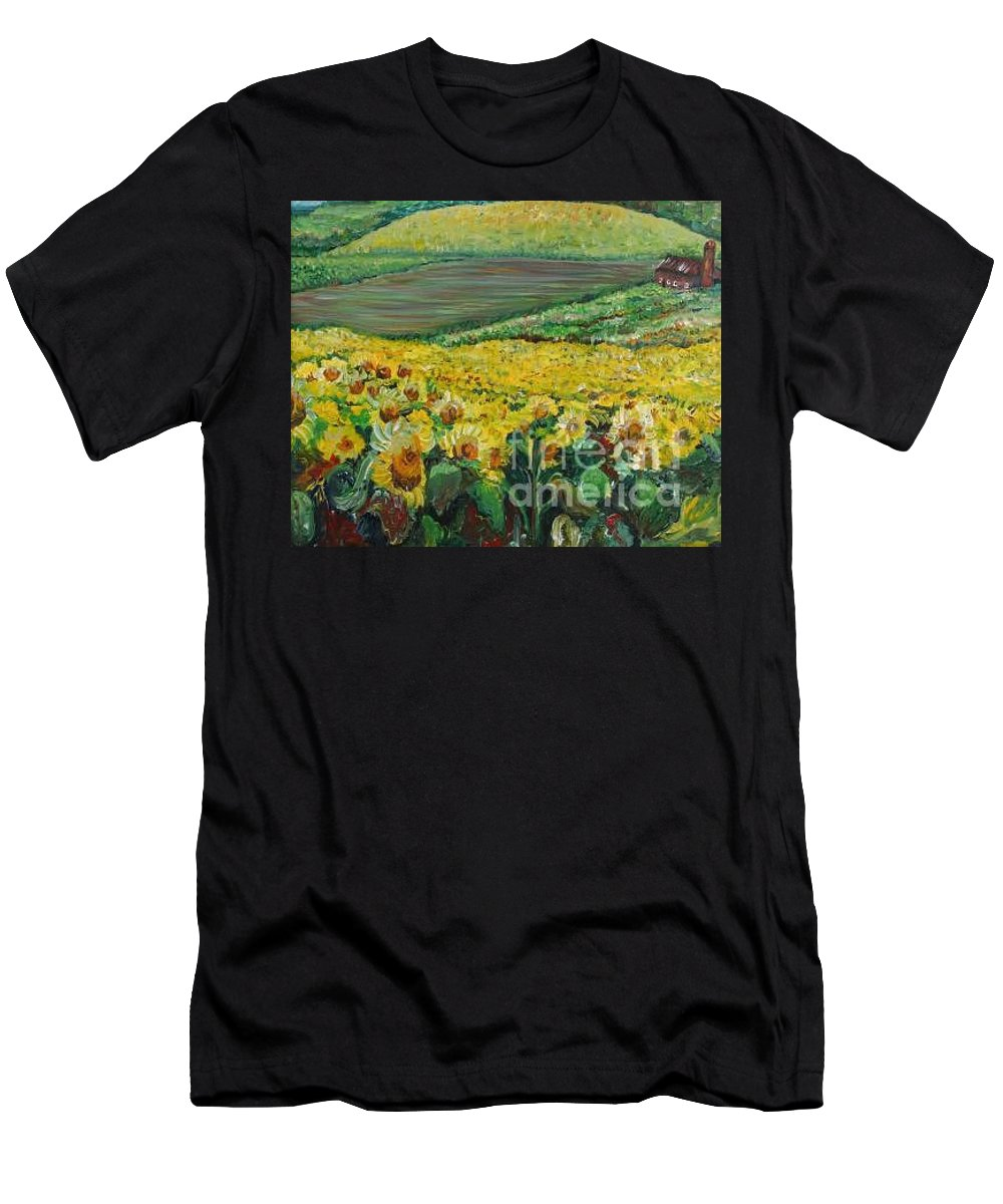A Field Of Yellow Sunflowers T-Shirt featuring the painting Sunflowers In Provence by Nadine Rippelmeyer