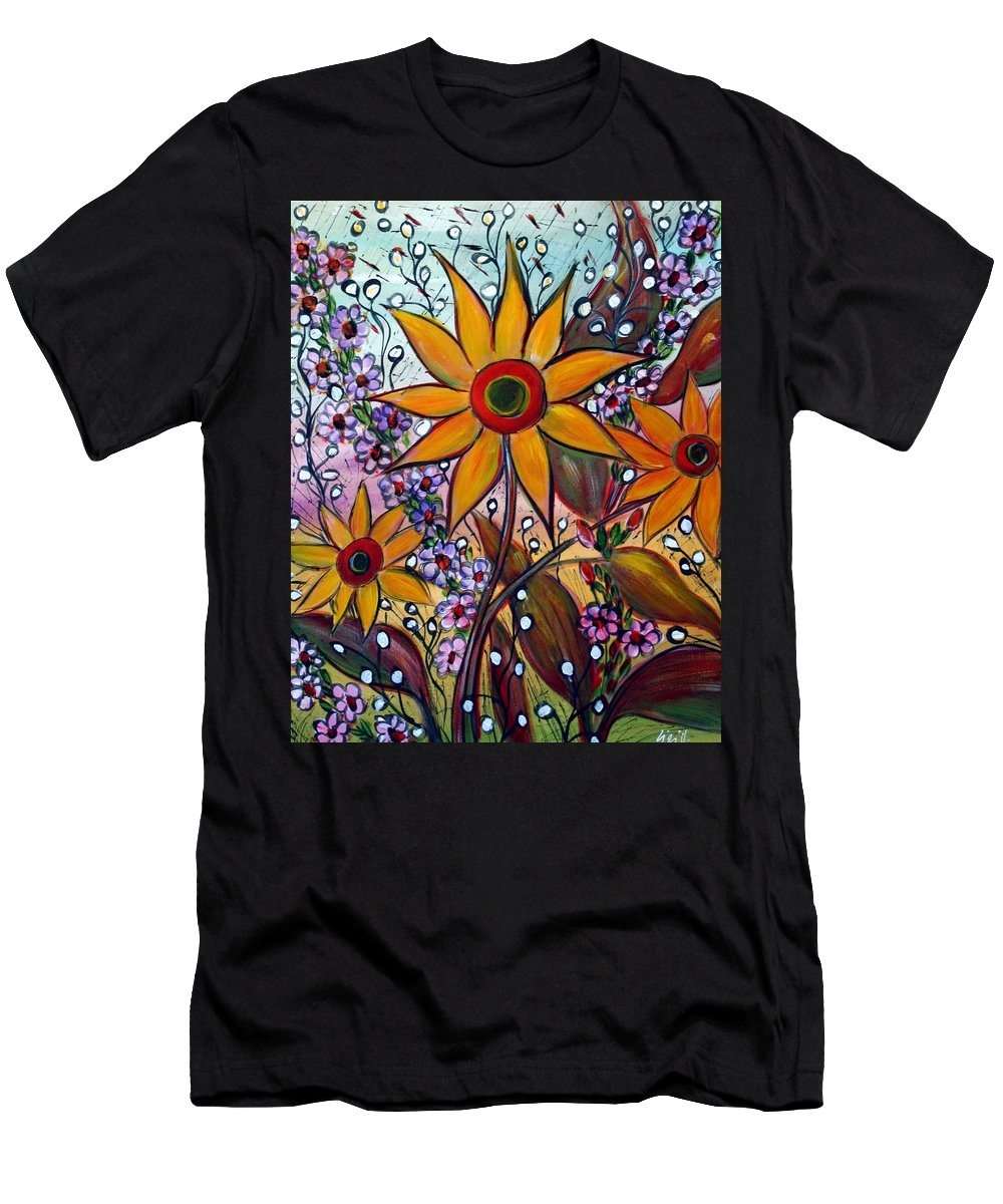 Flowers Men's T-Shirt (Athletic Fit) featuring the painting Sunflowers by Luiza Vizoli