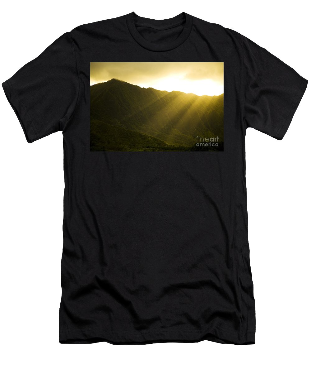 Bright Men's T-Shirt (Athletic Fit) featuring the photograph Sunlight Over Kualoa Ranch by Dana Edmunds - Printscapes