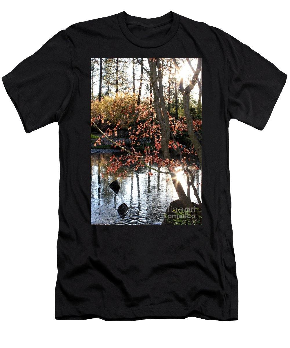 Maple Tree Men's T-Shirt (Athletic Fit) featuring the photograph Sunlight Through Japanese Maple by Carol Groenen