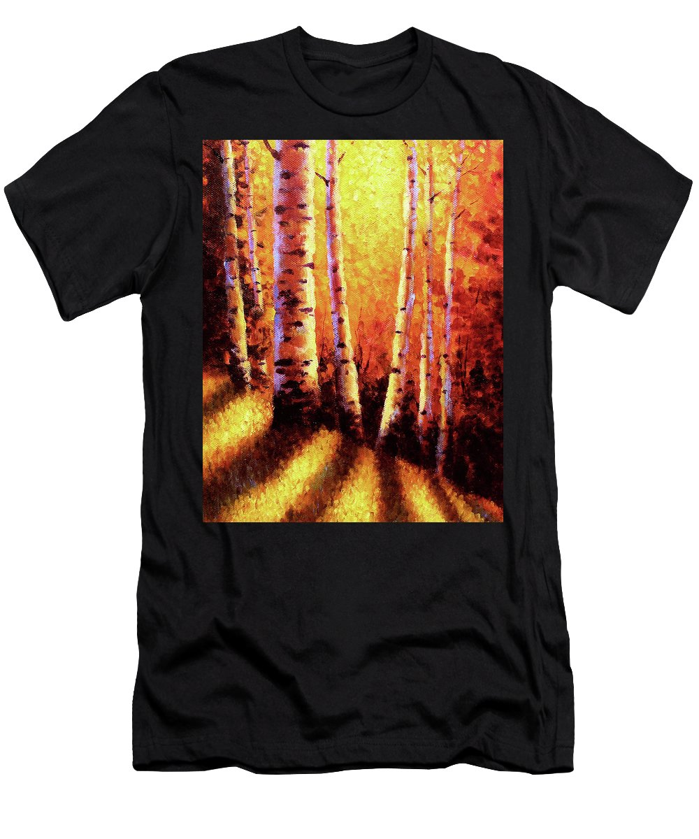 Sunlight Men's T-Shirt (Athletic Fit) featuring the painting Sunlight Through The Aspens by David G Paul