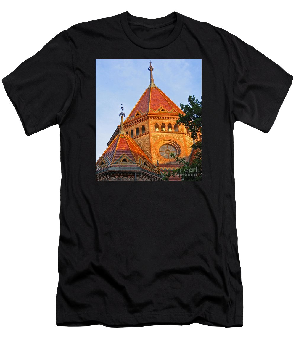 Budapest Men's T-Shirt (Athletic Fit) featuring the photograph Sunlit Church Aglow by Ann Horn