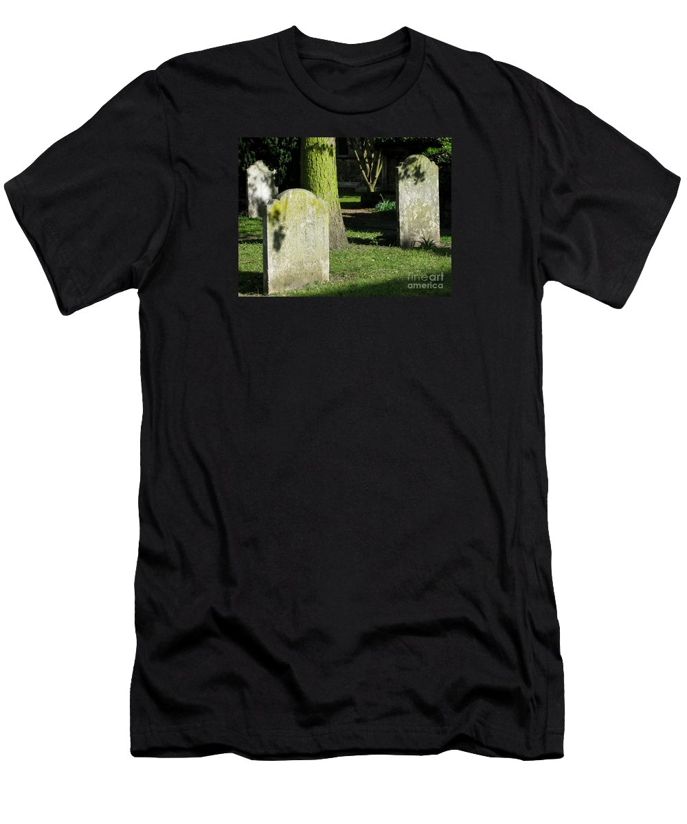 Churchyard Men's T-Shirt (Athletic Fit) featuring the photograph Sunlit Churchyard by Ann Horn