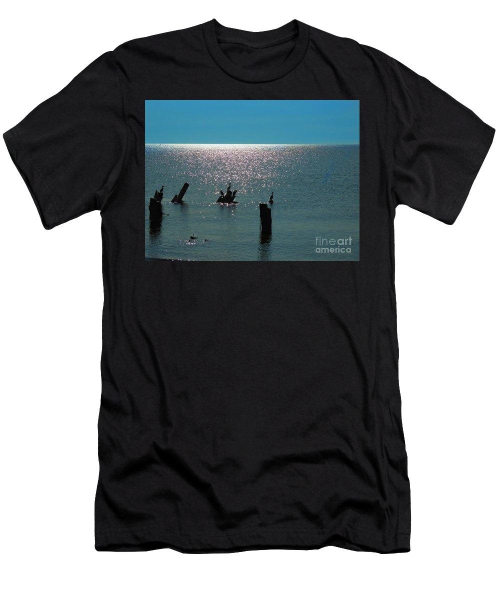 Cormorant Men's T-Shirt (Athletic Fit) featuring the photograph Sunlit Waters by Rrrose Pix