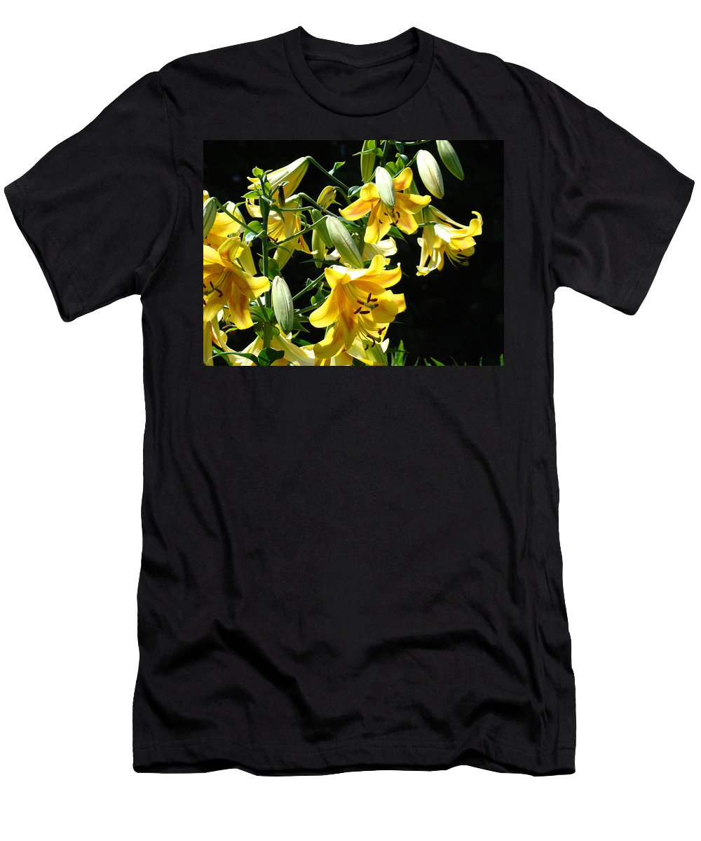 Lilies Men's T-Shirt (Athletic Fit) featuring the photograph Sunlit Yellow Lilies Art Prints Botanical Giclee Baslee Troutman by Baslee Troutman