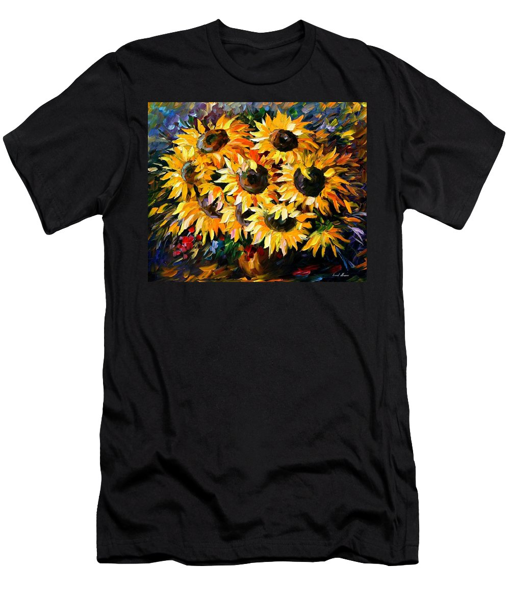 Floral Men's T-Shirt (Athletic Fit) featuring the painting Sunny Bouquet by Leonid Afremov