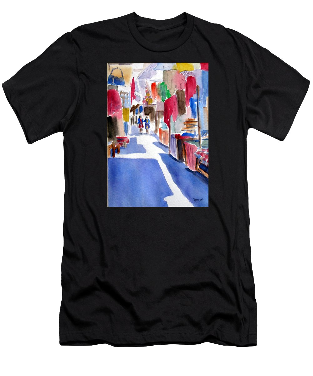 Market Men's T-Shirt (Athletic Fit) featuring the painting Sunny Day At The Market by Marsha Elliott