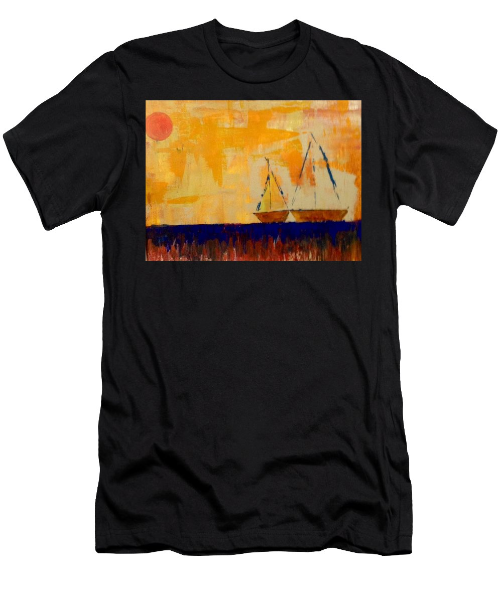 Orange Men's T-Shirt (Athletic Fit) featuring the painting Sunny Day Sail by Phyllis Hollenbeck