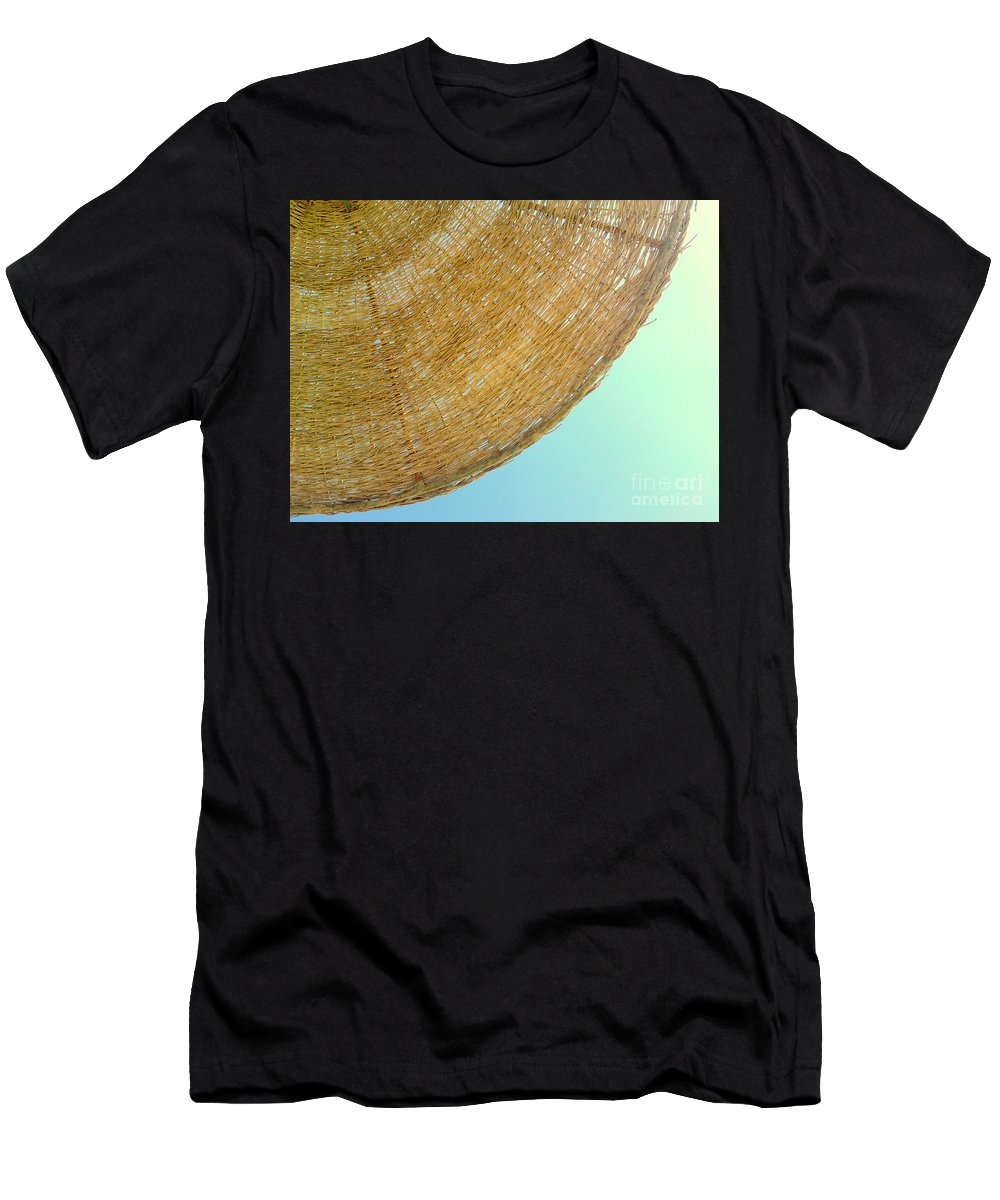 Umbrella Sun Sky Beach Blue Yellow Summer Egypt Men's T-Shirt (Athletic Fit) featuring the photograph Sunny by Mina Milad