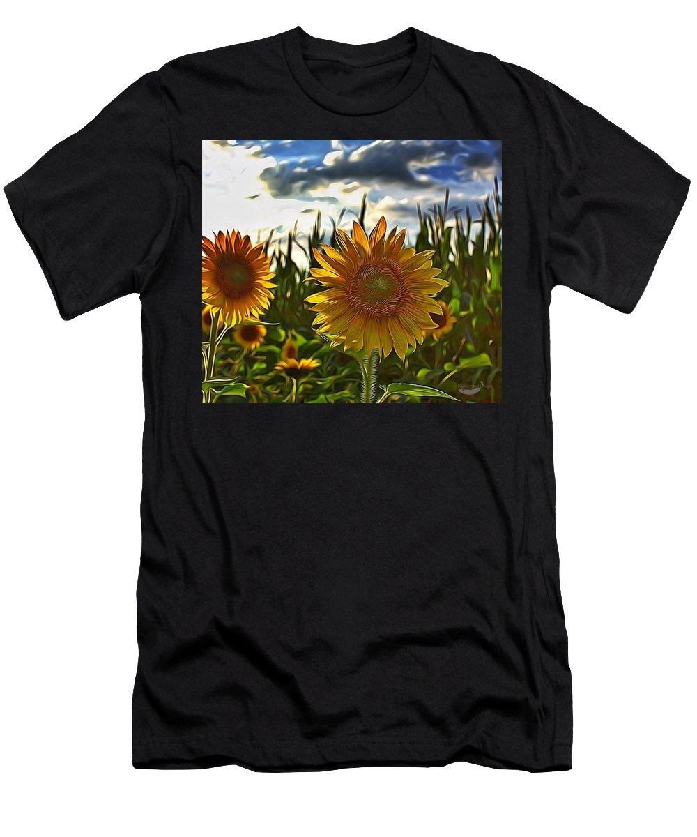 Digital Art Men's T-Shirt (Athletic Fit) featuring the digital art Sunny Sunflower by Raven Steel Design