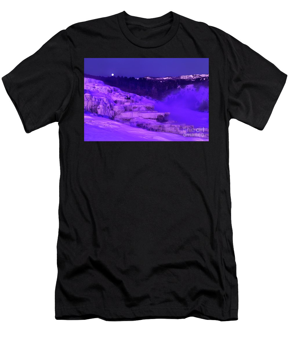 North America Men's T-Shirt (Athletic Fit) featuring the photograph Sunrise And Moonset Over Minerva Springs Yellowstone National Park by Dave Welling
