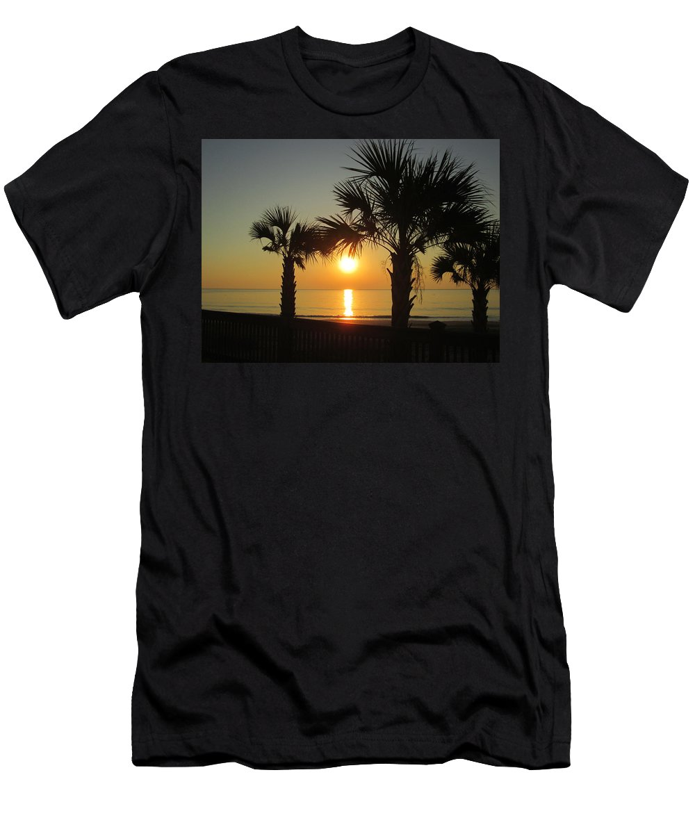 Sun Men's T-Shirt (Athletic Fit) featuring the photograph Sunrise And Palms by Jeanette Conrad