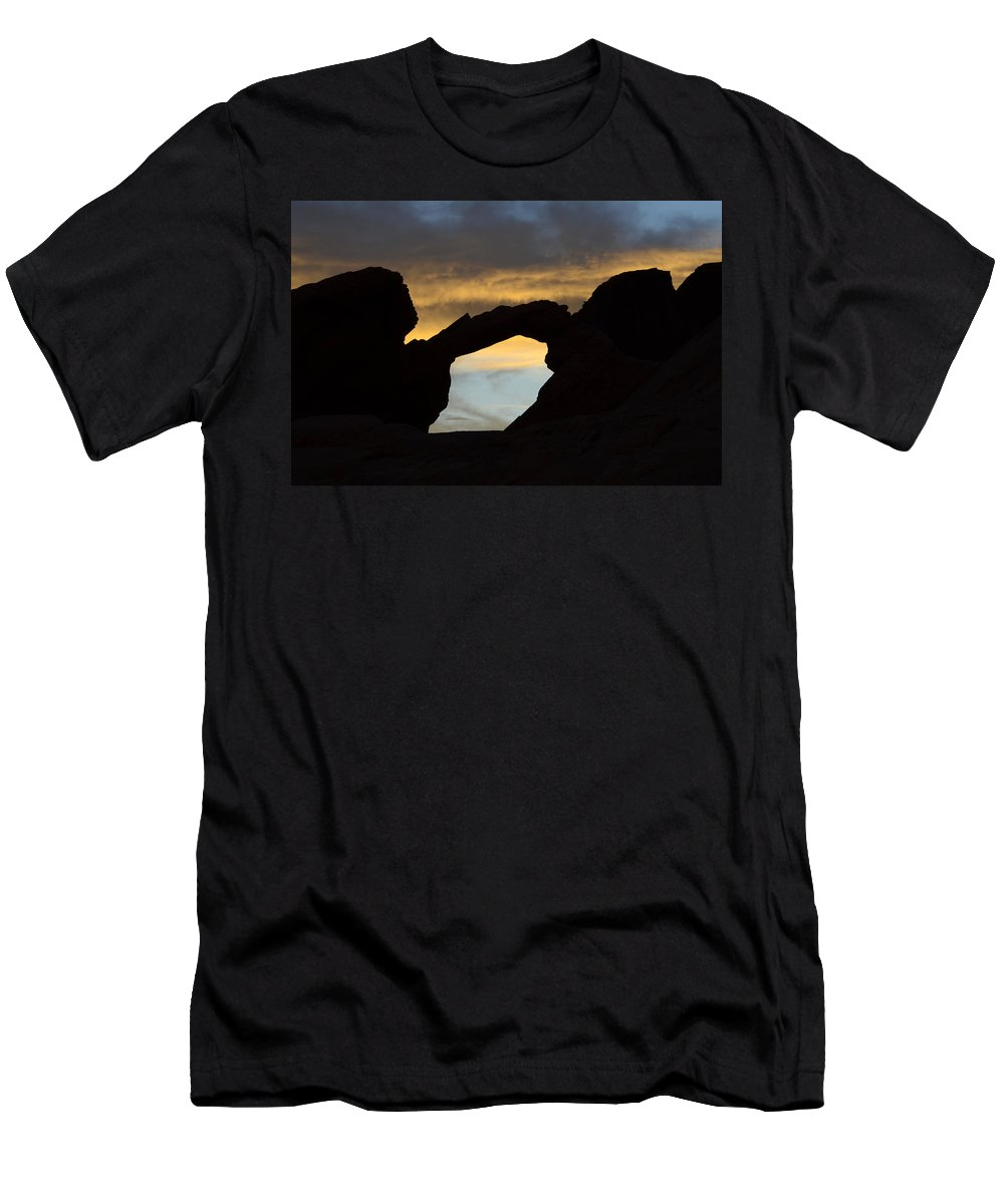 Nevada Men's T-Shirt (Athletic Fit) featuring the photograph Sunrise At Arch Rock by Bob Christopher