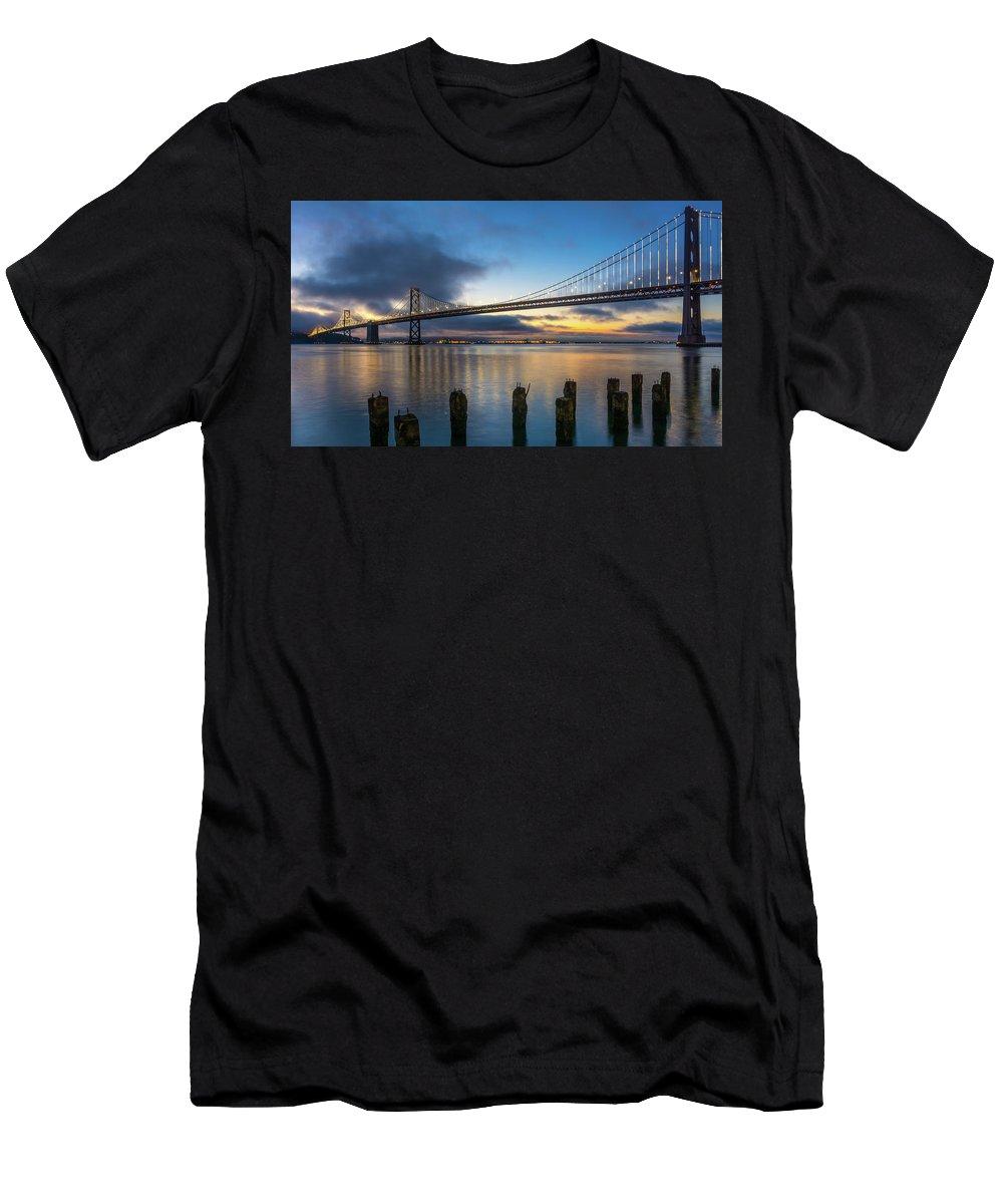 Landscape Men's T-Shirt (Athletic Fit) featuring the photograph Sunrise At Bay Bridge by Javier Flores