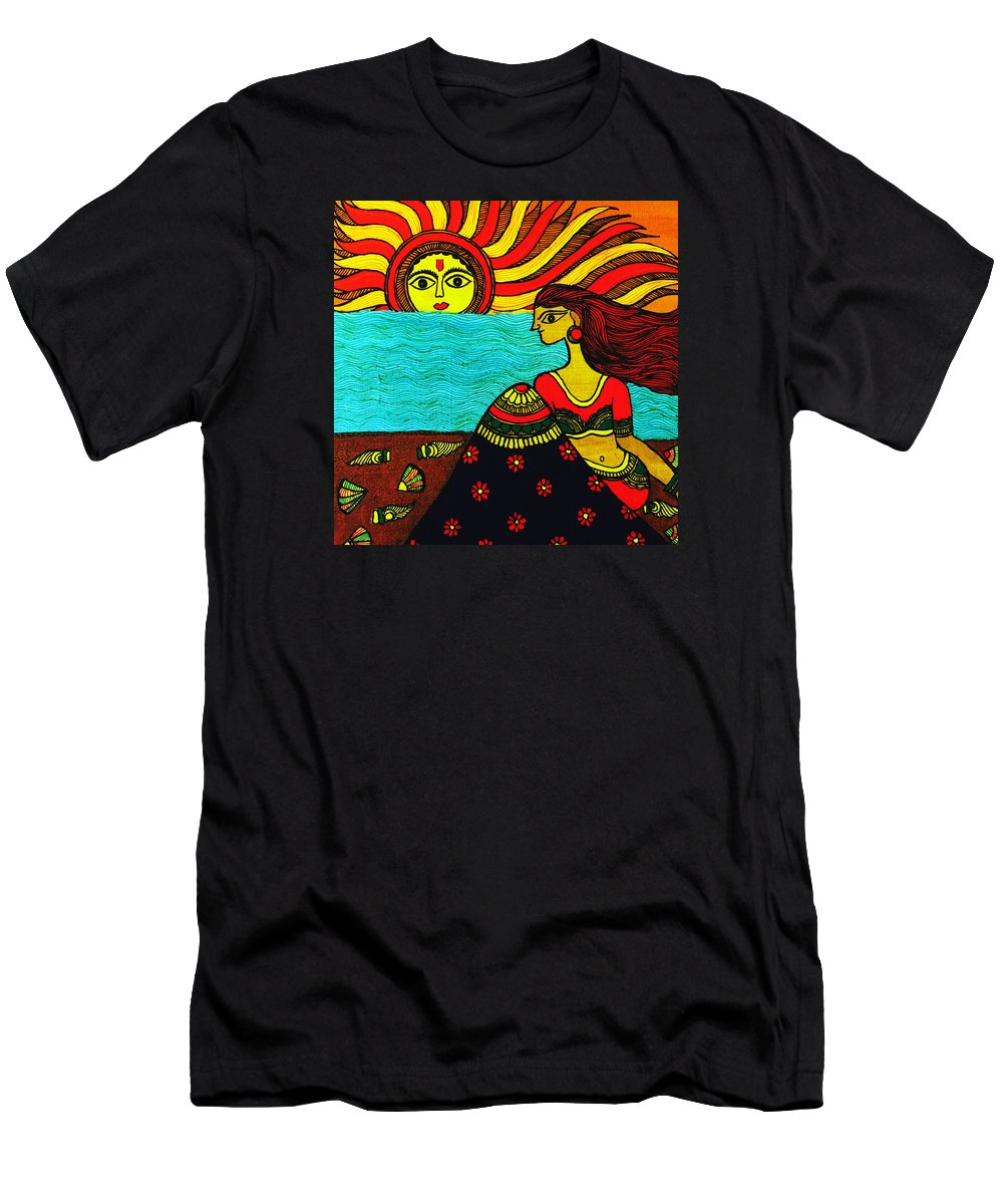 Beautiful Lady Men's T-Shirt (Athletic Fit) featuring the painting Sunrise At Beach Madhubani Painting by Shishu Suman