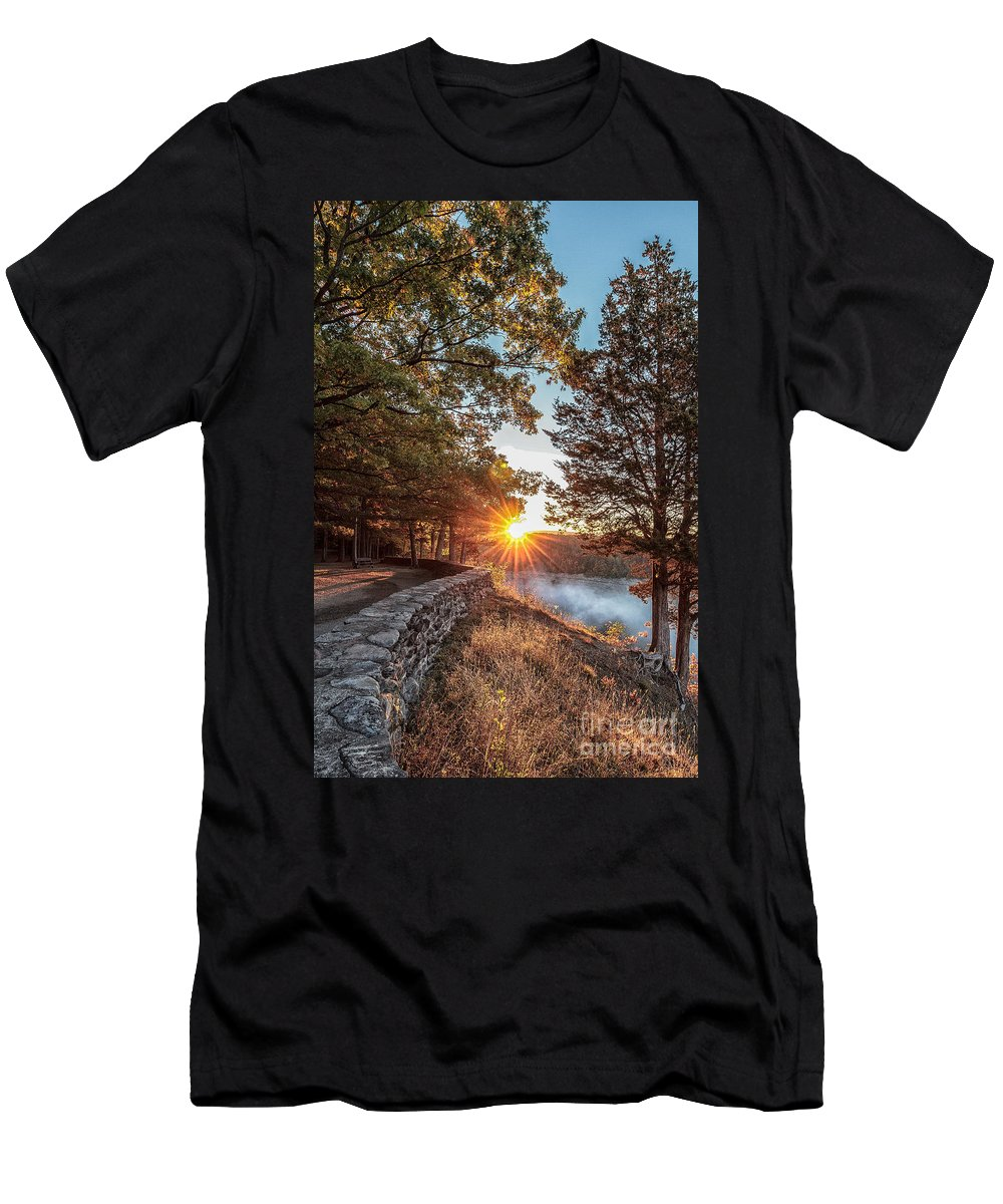 Sunrise Men's T-Shirt (Athletic Fit) featuring the photograph Sunrise At Great Bend by Rod Best