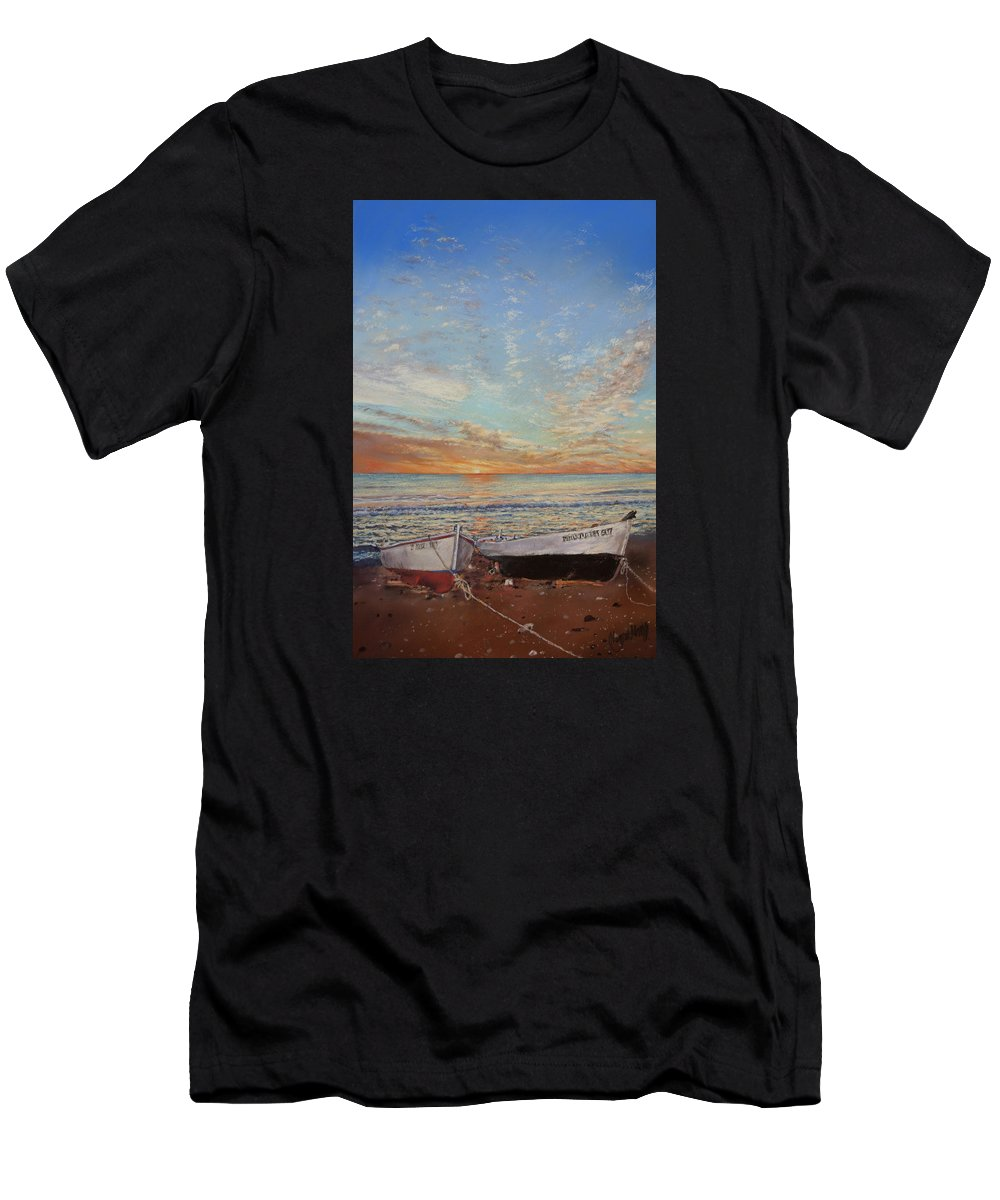 Las Negras Men's T-Shirt (Athletic Fit) featuring the painting Sunrise At Las Negras by Margaret Merry