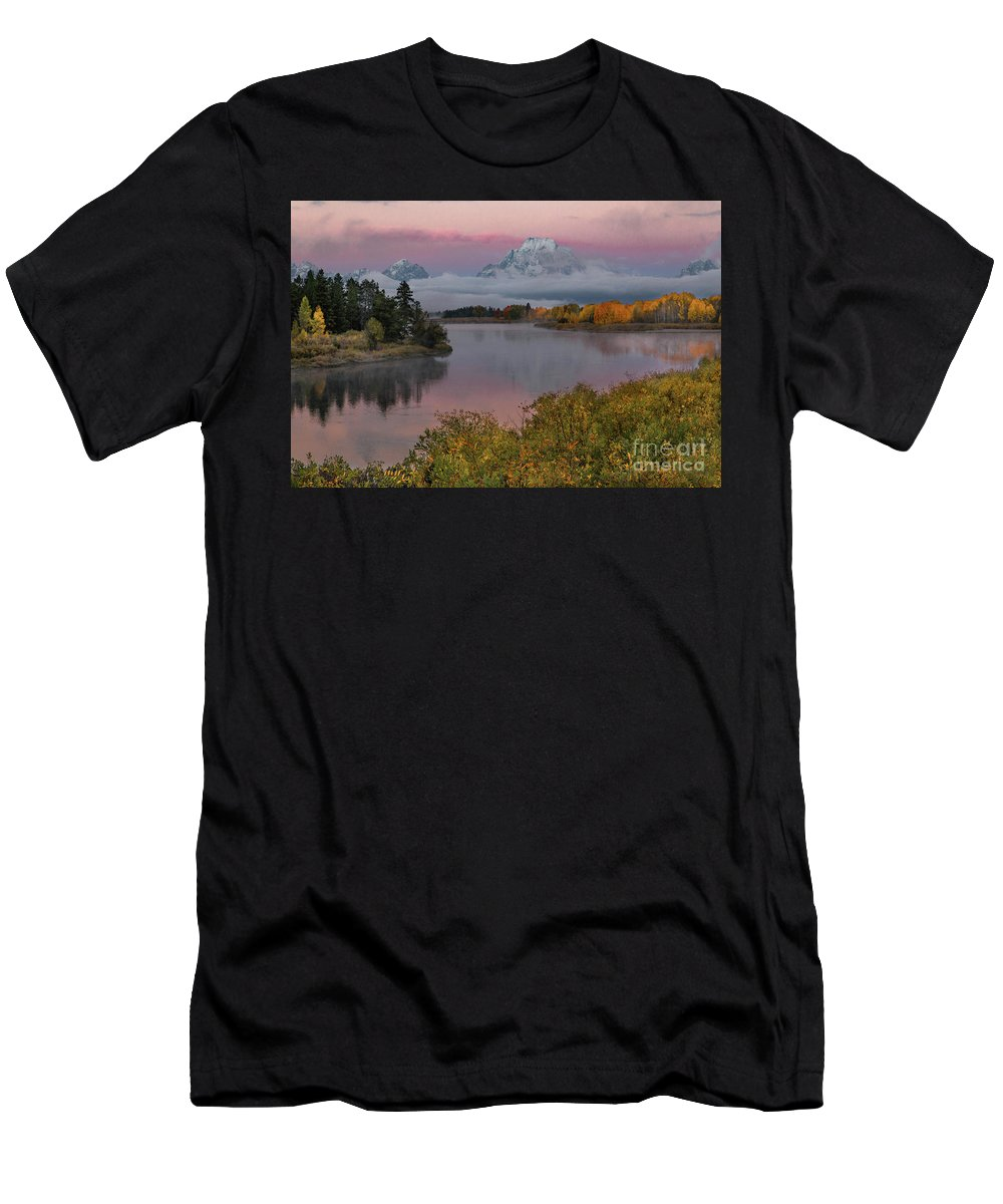 Sunrise At Oxbow Bend Men's T-Shirt (Athletic Fit) featuring the photograph Sunrise At Oxbow Bend by Lynn Sprowl