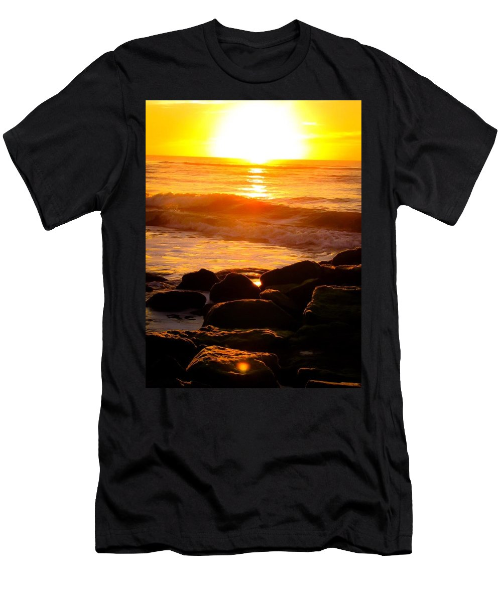 Sunrise Men's T-Shirt (Athletic Fit) featuring the photograph Sunrise At The Jetty by Carol McGinn
