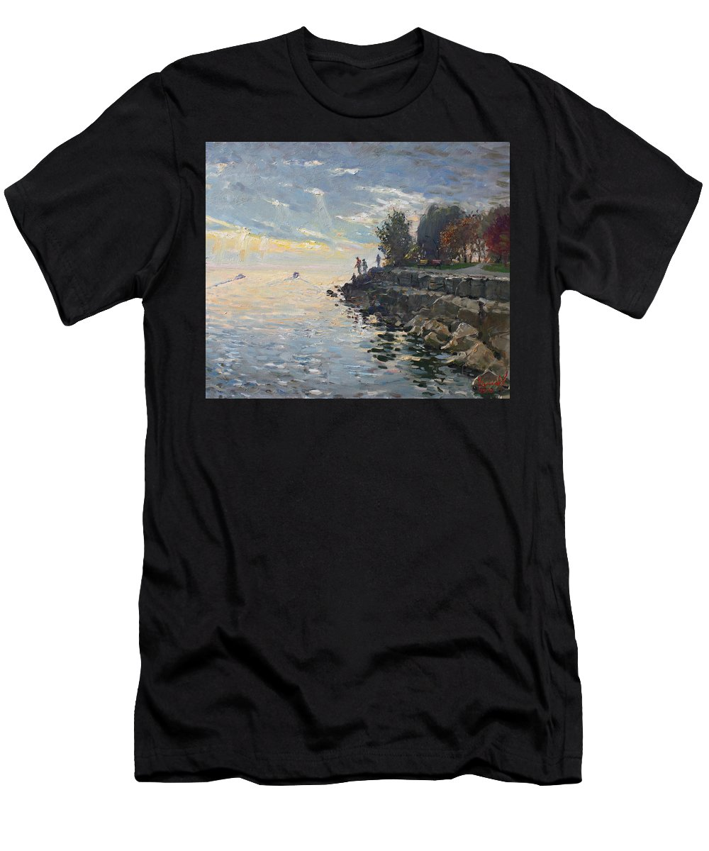 Lake Shore Men's T-Shirt (Athletic Fit) featuring the painting Sunrise Fishing by Ylli Haruni