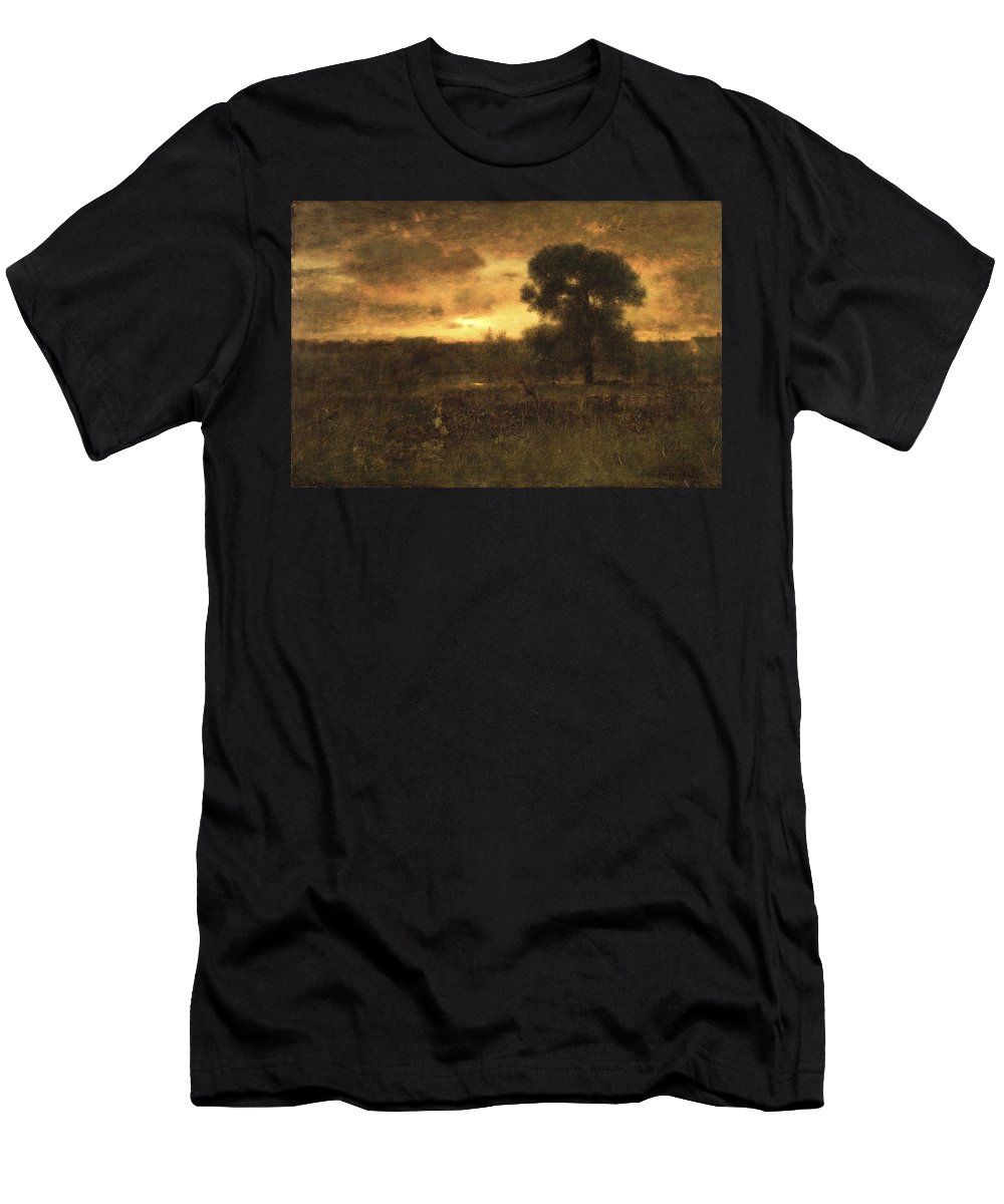 George Inness (american Men's T-Shirt (Athletic Fit) featuring the painting Sunrise by MotionAge Designs