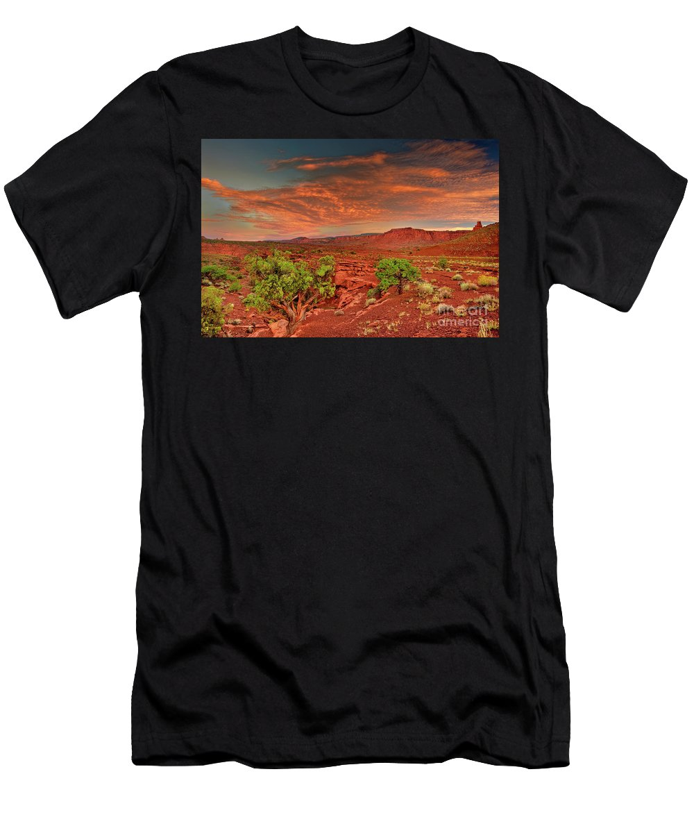 North America Men's T-Shirt (Athletic Fit) featuring the photograph Sunrise In Capitol Reef National Park Utah by Dave Welling