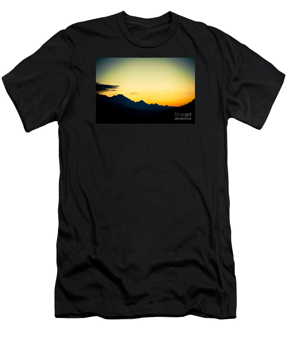 Annapurna Men's T-Shirt (Athletic Fit) featuring the photograph Sunrise In Himalayas Annapurna Yatra Himalayas Mountain Nepal 2014 Artmif.lv by Raimond Klavins