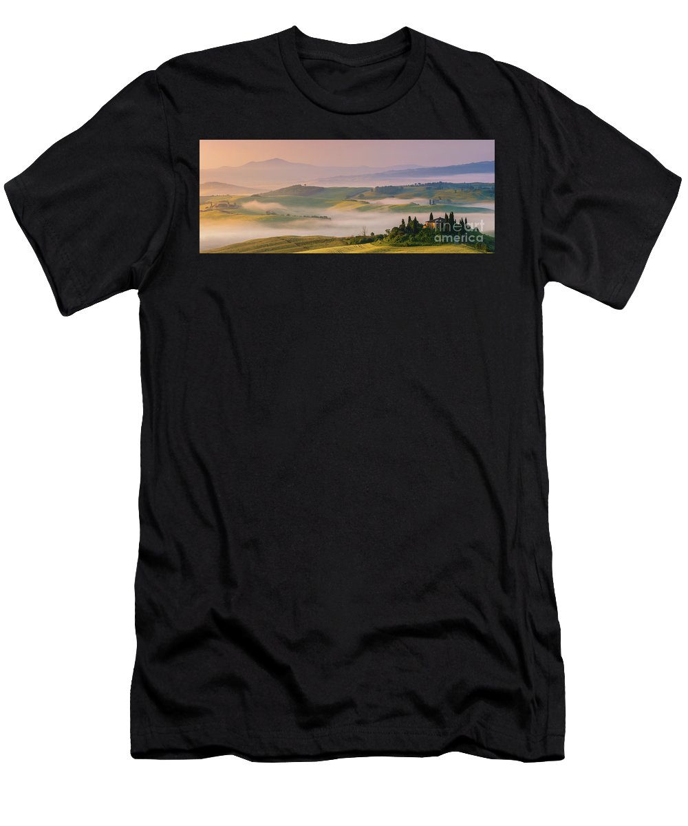 San Quirico Men's T-Shirt (Athletic Fit) featuring the photograph Sunrise In The Tuscany by Henk Meijer Photography