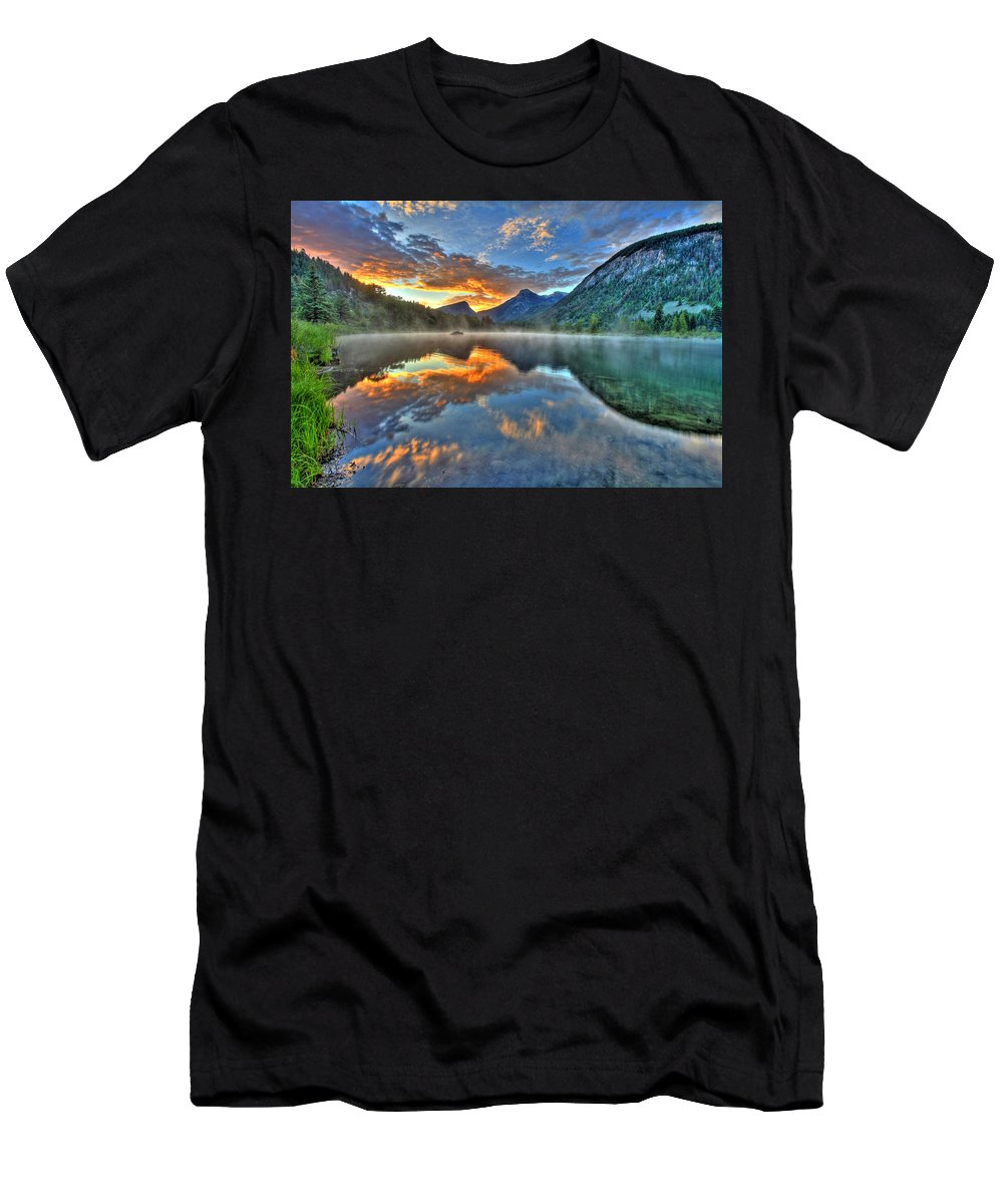 Colorado Men's T-Shirt (Athletic Fit) featuring the photograph Sunrise Lake by Scott Mahon