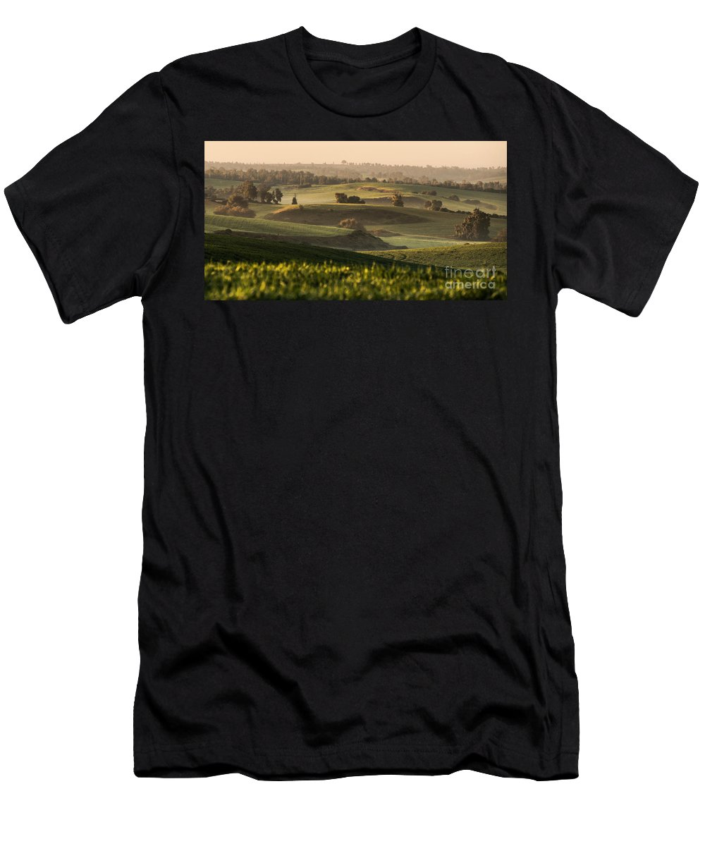 Sunrise Men's T-Shirt (Athletic Fit) featuring the photograph Sunrise On The Hills by Gal Gross