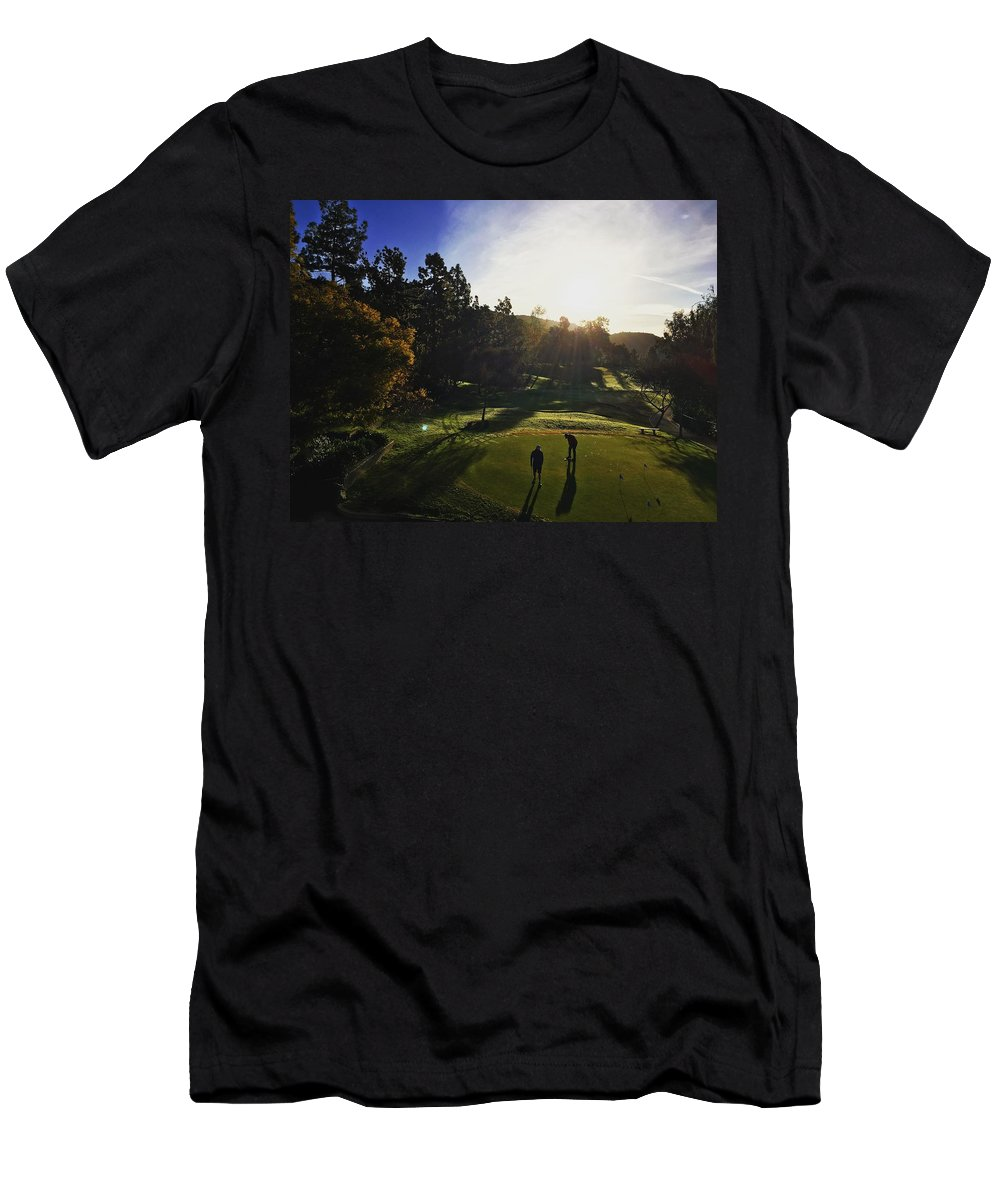 Golf Men's T-Shirt (Athletic Fit) featuring the photograph Sunrise On The Links by Scott Fluhler