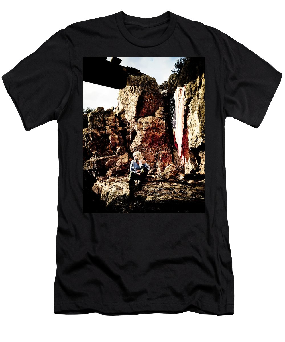 American Flag Men's T-Shirt (Athletic Fit) featuring the photograph Sunrise Or Sunset by Scott Sawyer