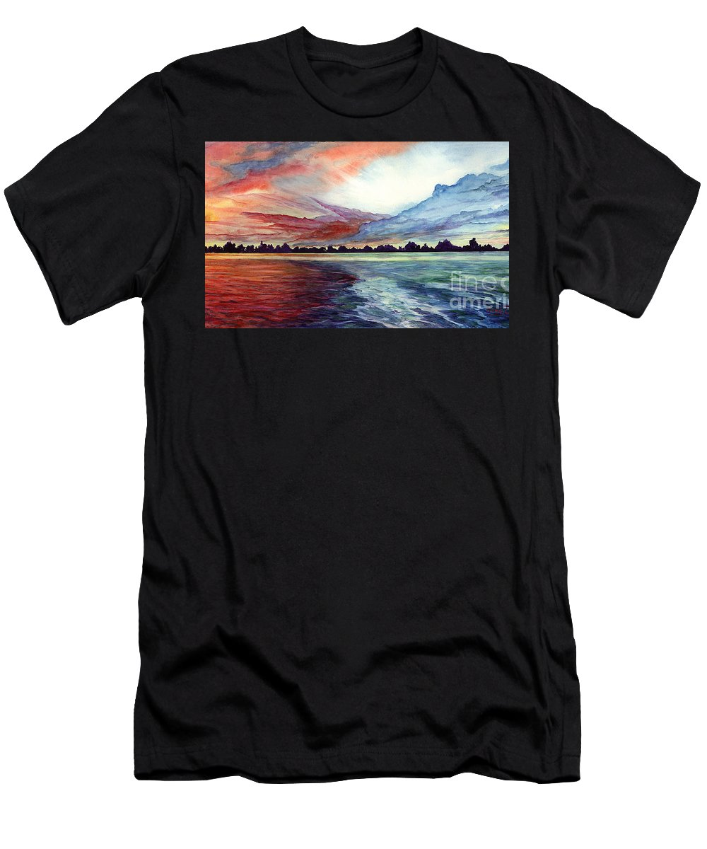 Sunrise Men's T-Shirt (Athletic Fit) featuring the painting Sunrise Over Indian Lake by Nancy Cupp
