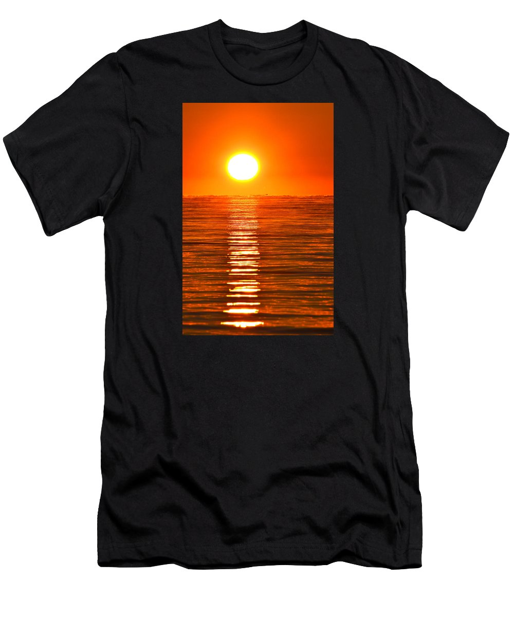 Abstract Men's T-Shirt (Athletic Fit) featuring the photograph Sunrise Over The Lake 2 by Lyle Crump