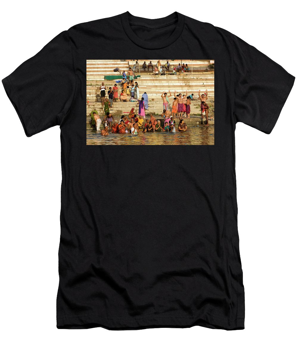 Sunrise Men's T-Shirt (Athletic Fit) featuring the photograph Sunrise Praying In River Ganges by Aivar Mikko