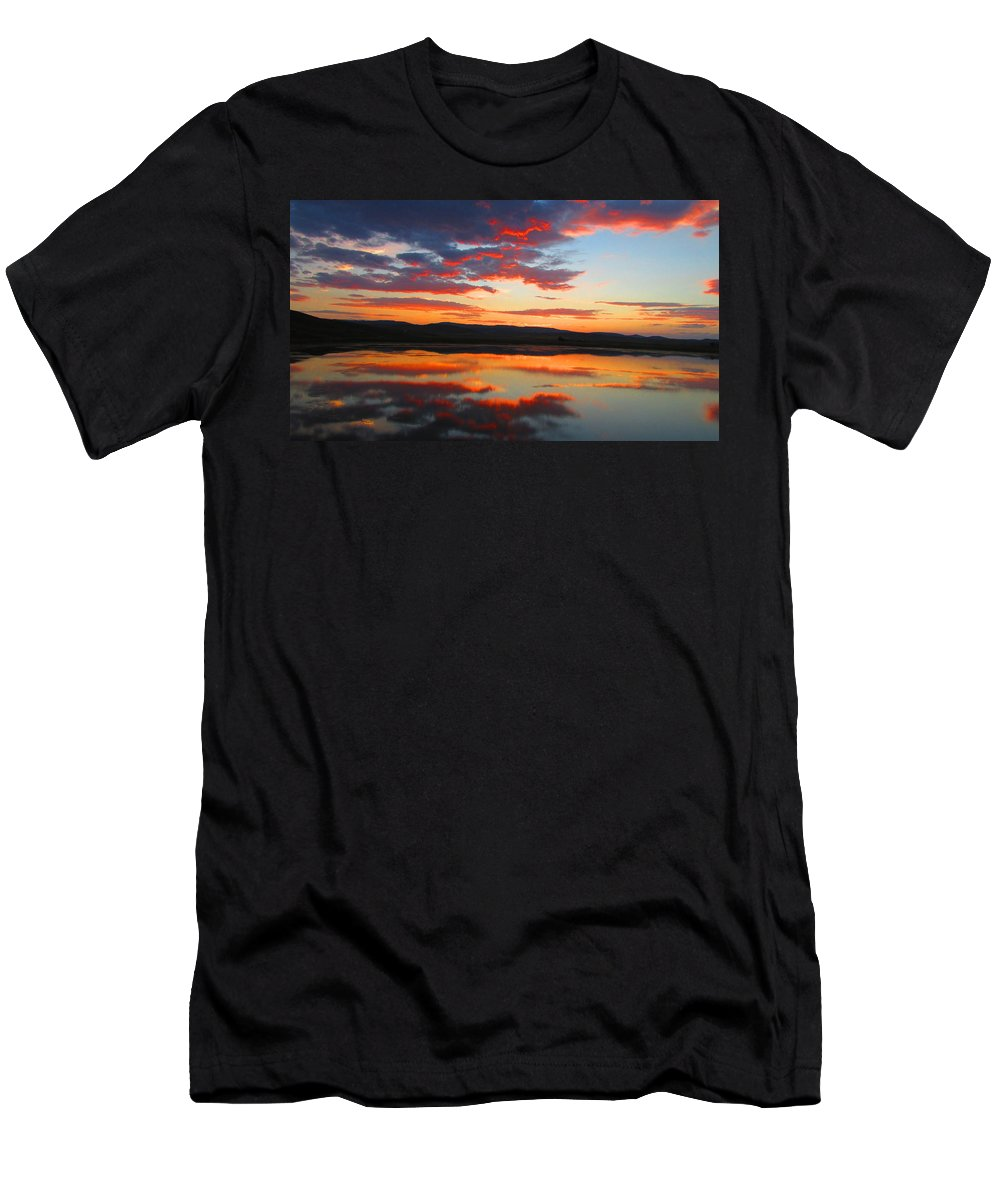 Sunrise Men's T-Shirt (Athletic Fit) featuring the photograph Sunrise Refection by Carol Dyer
