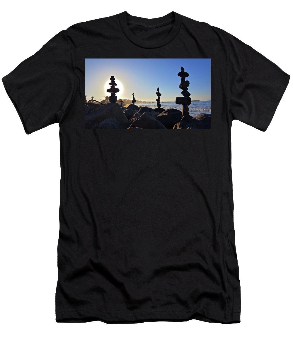 Rock Stacks Men's T-Shirt (Athletic Fit) featuring the photograph Sunrise Stacks by Joseph Krzywonski