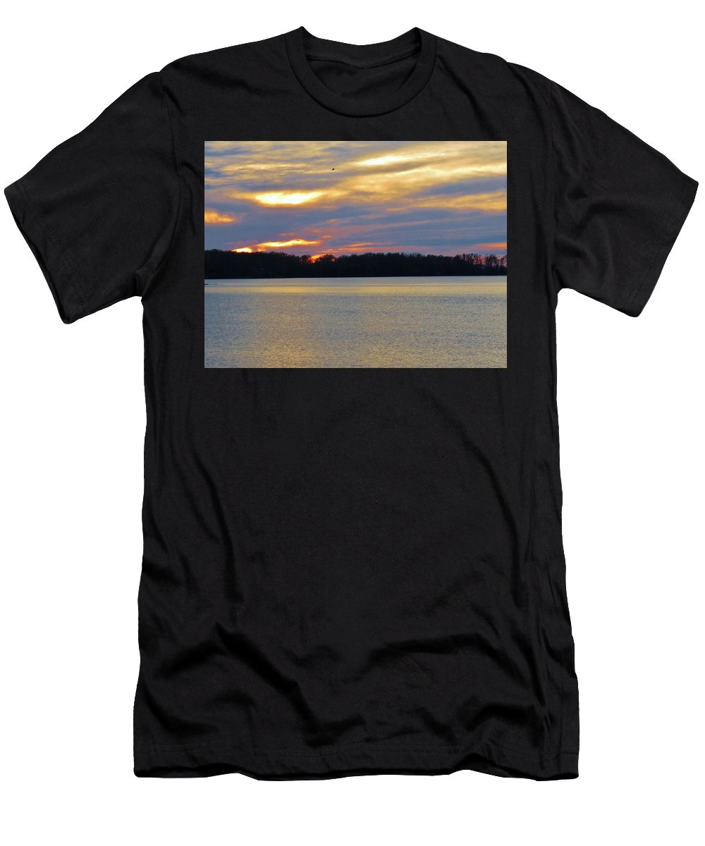 Sunset Men's T-Shirt (Athletic Fit) featuring the photograph Sunrise-sunset 3 by Ron Emery