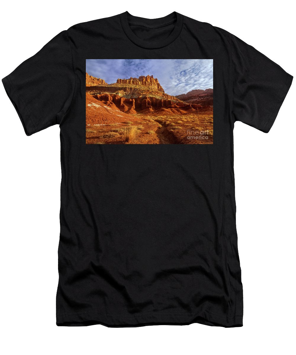 Dave Welling Men's T-Shirt (Athletic Fit) featuring the photograph Sunrise The Castle Capitol Reef National Park Utah by Dave Welling