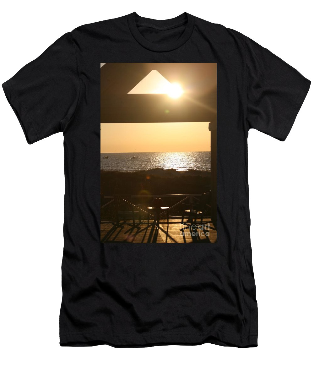 Sunrise Men's T-Shirt (Athletic Fit) featuring the photograph Sunrise Through The Pavilion by Nadine Rippelmeyer