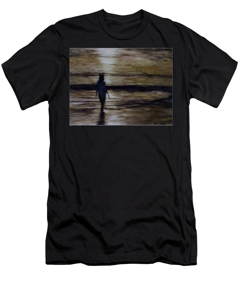 Figure Men's T-Shirt (Athletic Fit) featuring the painting Sunrise Walk In The Sea by Fran Rittenhouse-McLean