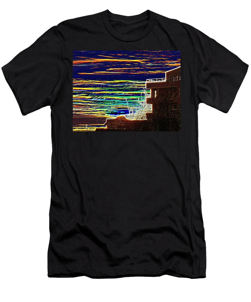 Seattle Men's T-Shirt (Athletic Fit) featuring the digital art Sunset 1 by Tim Allen