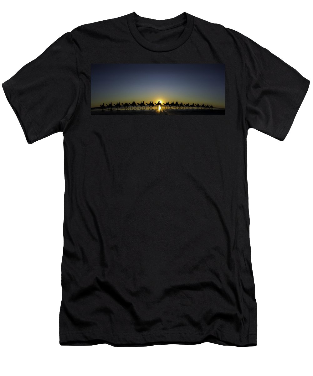 Broome Men's T-Shirt (Athletic Fit) featuring the photograph Sunset At Cable Beach by Chris Cousins