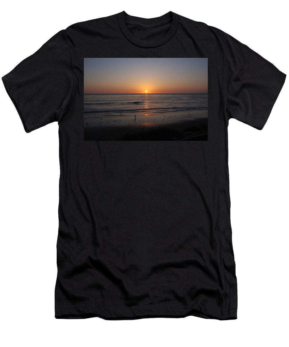 Sunset Men's T-Shirt (Athletic Fit) featuring the photograph Sunset At Eljio Beach California by Susanne Van Hulst