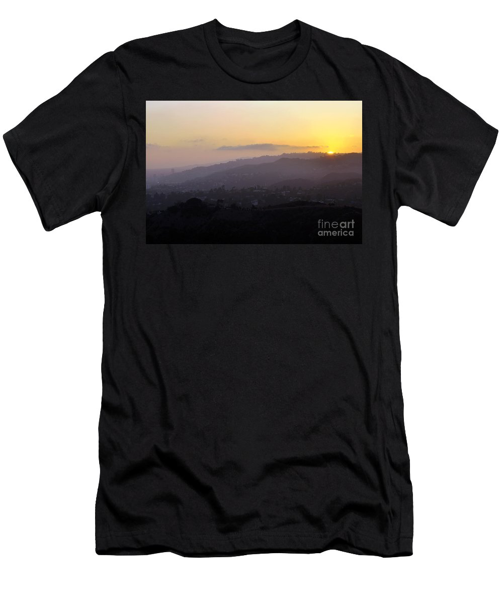 Clay Men's T-Shirt (Athletic Fit) featuring the photograph Sunset At Griffeth Observatory by Clayton Bruster