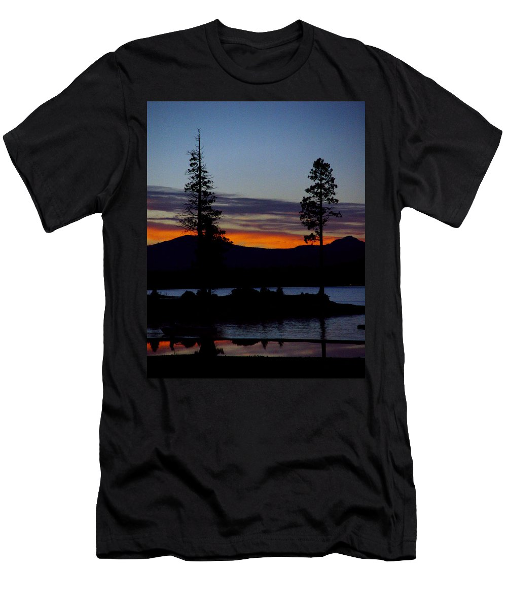 Lake Almanor Men's T-Shirt (Athletic Fit) featuring the photograph Sunset At Lake Almanor by Peter Piatt