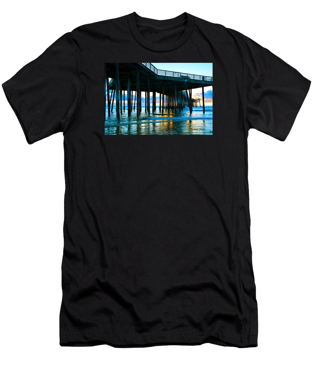 Sunset At Pismo Beach Pier Men's T-Shirt (Athletic Fit) featuring the painting Sunset At Pismo Beach Pier by Barbara Snyder