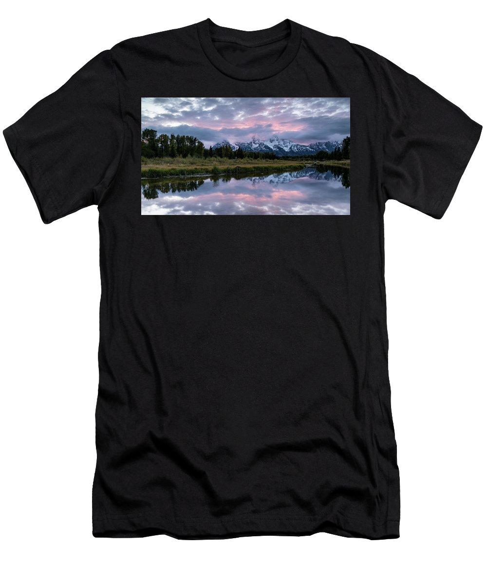 Sunset Men's T-Shirt (Athletic Fit) featuring the photograph Sunset At Schwabacher by Jeremy Duguid